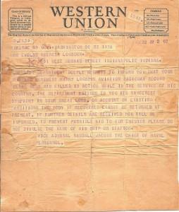 Herbert Logsdon telegram